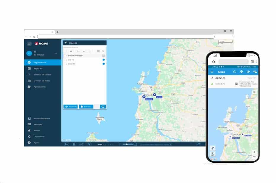 mockup aplicación móvil y web para rastrea vehículos GPS